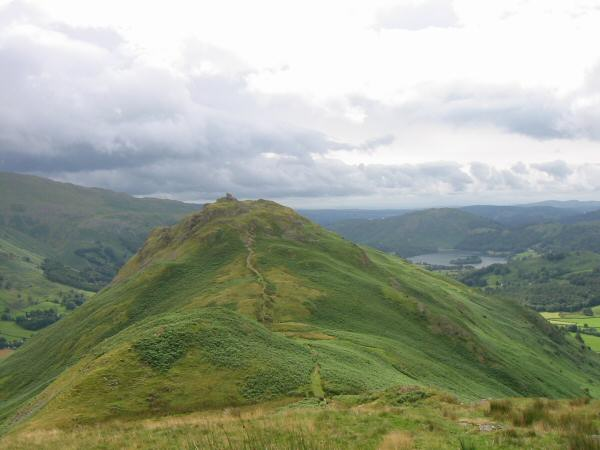 Looking back to Helm Crag from the route to Gibson Knott
