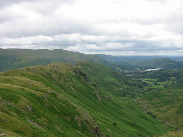 Looking back down the ridge and Far Easedale towards Grasmere