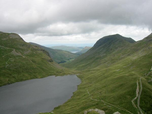 Grisedale Tarn, Ullswater in the distance and Saint Sunday Crag from the descent to Grisedale Hause