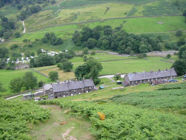 Looking down on the old miners cottages