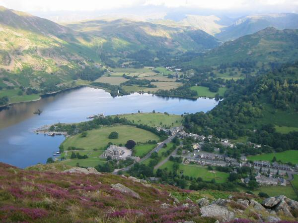Looking down on Glenridding village and the head of Ullswater