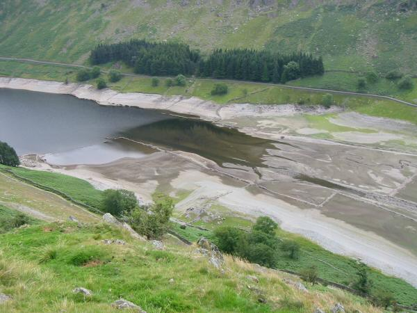 Looking down on the head of Haweswater as the old walls show themselves again