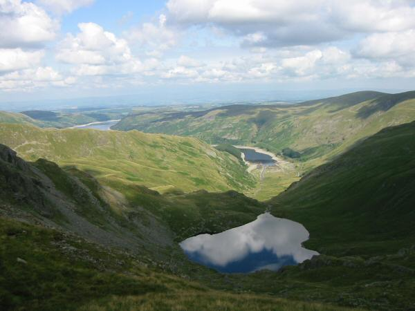 Small Water and Haweswater from the descent to Nan Bield Pass