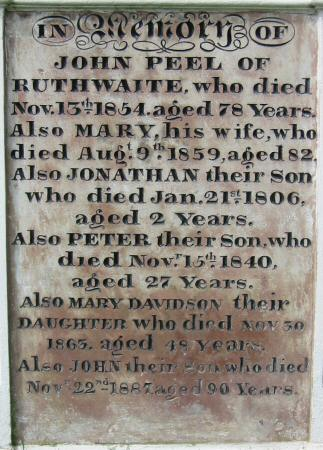 John Peel's grave, St Kentigern's Church, Caldbeck
