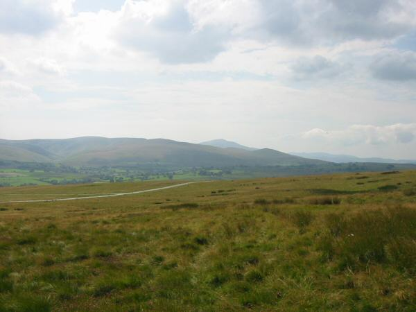 The valley leading to Roughton Gill is on the far left and Skiddaw is the pointed peak in the centre of the photo