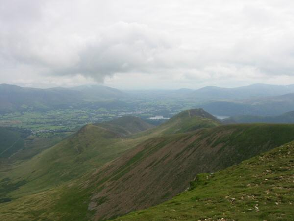 The Vale of Keswick and the ridge to Causey Pike from Eel Crag's summit