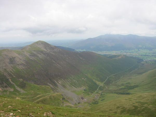 Grisedale Pike, Coledale and the Skiddaw fells from Eel Crag's summit