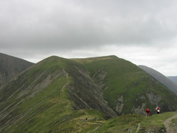 Looking back to Thirdgill Head Man and Wandope from Whiteless Pike's summit