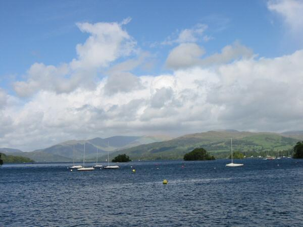 The view north up Windermere towards the Fairfield Horseshoe from Bowness-on-Windermere