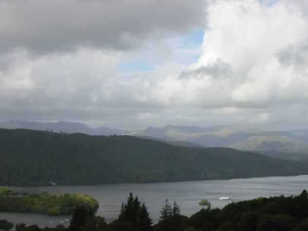 Crinkle Crags, Bowfell, Rossett Pike and the Langdale Pikes, seen across Windermere from Brant Fell