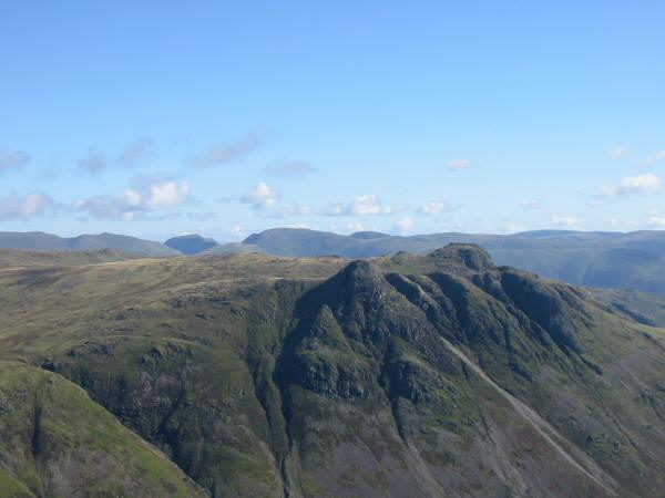 Looking over the Langdale Pikes to Dollywaggon Pike, Saint Sunday Crag (in shaddow) and Fairfield