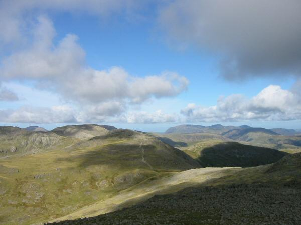 Looking towards Esk Pike from Bowfell