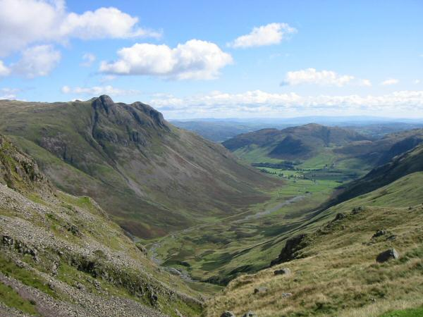 The Langdale Pikes and Mickleden from the top of Rossett Gill