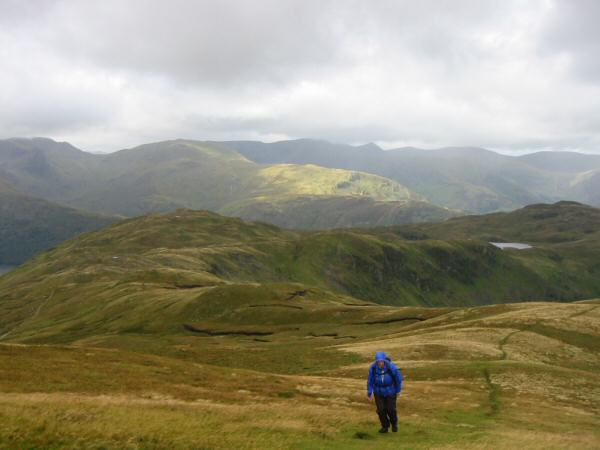 Looking back to Brock Crags from the ascent of Rest Dodd