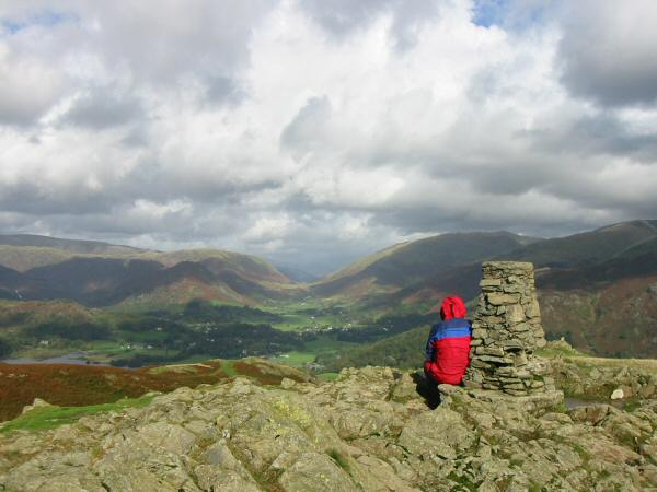 Grasmere village and Dunmail Raise from Loughrigg Fell's summit