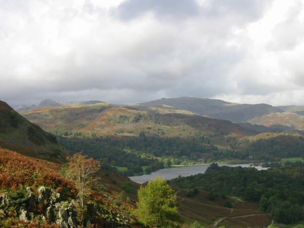Silver How and Grasmere from the descent to Loughrigg Cave
