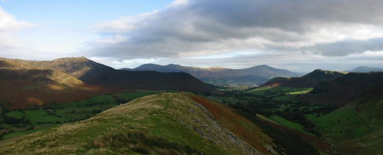 The view north - Causey Pike, Skiddaw (behind Rowling End), Blencathra and Catbells