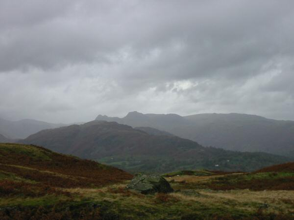 The Lingmoor Fell with the Langdale Pikes beyond