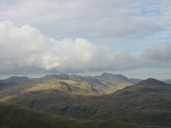Scafell, Crinkle Crags, Bowfell and Pike O' Blisco from Wetherlam Edge