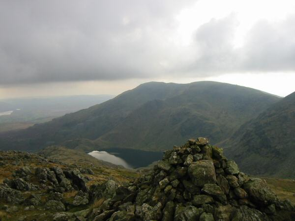 Coniston Old Man, Brim Fell and Levers Water from Black Sails' summit