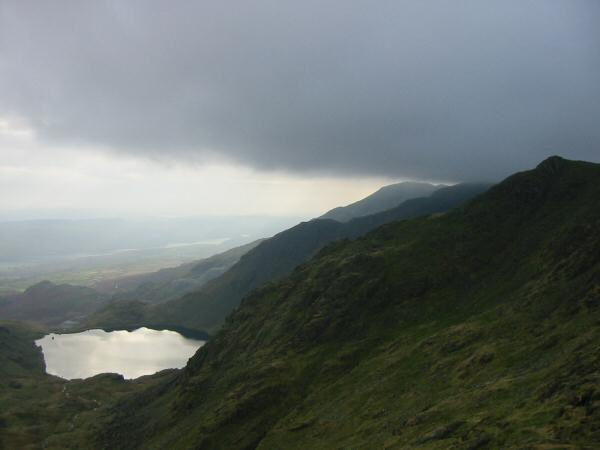 Levers Water and Coniston Old Man with its top just below the cloud from Prison Band