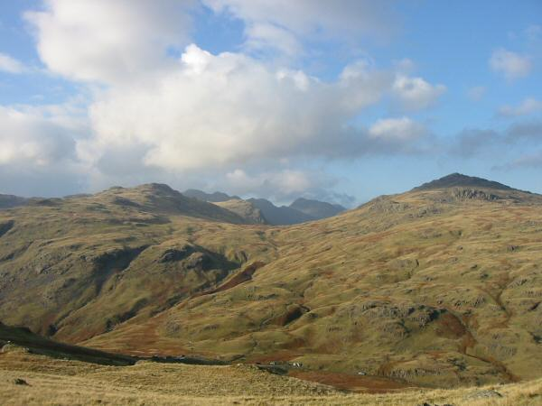 Looking across Wrynose Pass to Cold Pike and Pike O' Blisco with Crinkle Crags and Bowfell in the distance