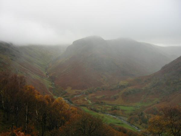 Eagle Crag with Greenup Gill on the left and Langstrath on the right