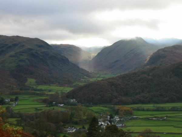Looking down on Rosthwaite and upper Borrowdale