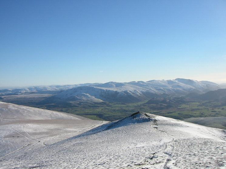Lesser Man with the Helvellyn range in the distance from Skiddaw Little Man