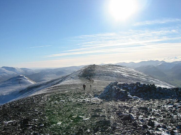 Skiddaw's summit ridge, with Little Man on the left