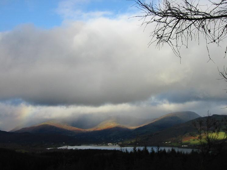 Looking over Windermere to Nab Scar, High Pike, Red Screes and Wansfell Pike