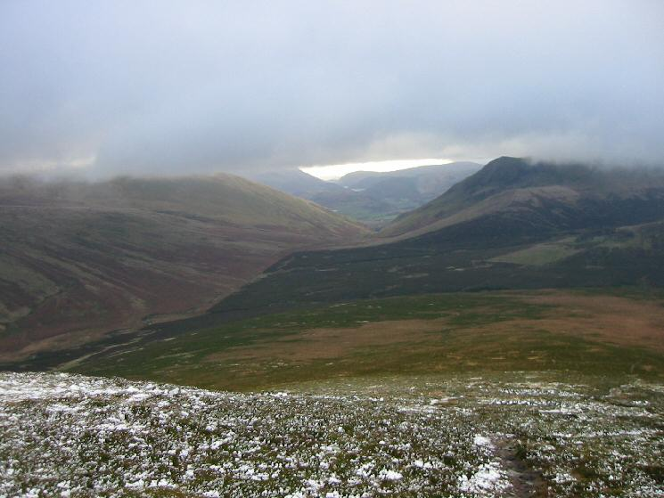 Looking south through the gap between Blencathra and Lonscale Fell with Thirlmere just 'visible' in the distance
