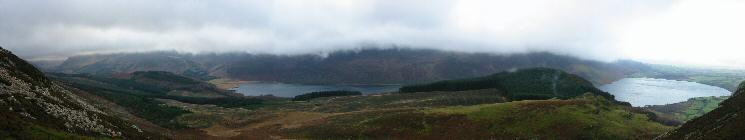 Bowness Knott and Ennerdale Water with the higher fells lost in cloud