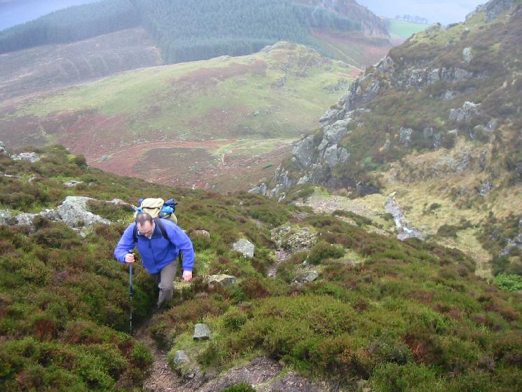 High up on the ascent, having climbed the steep section