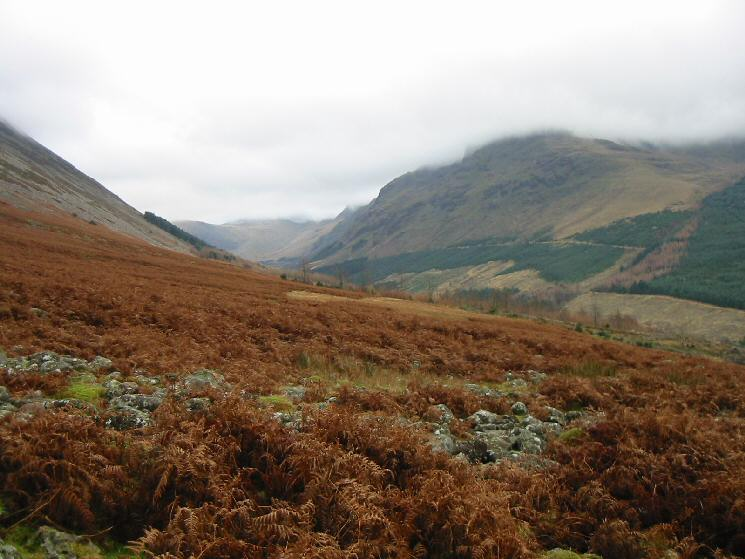 The view up Ennerdale with Pillar lost in cloud on the right