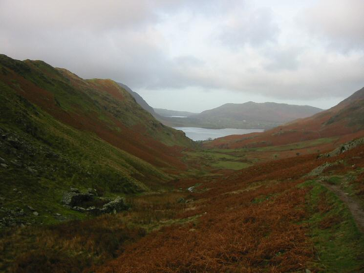 Looking down into Rannerdale from the path by Squat Beck