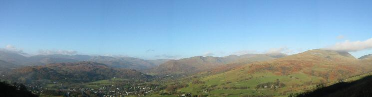 Loughrigg Fell, Ambleside, Fairfield Horseshoe and Red Screes from the ascent of Wansfell Pike
