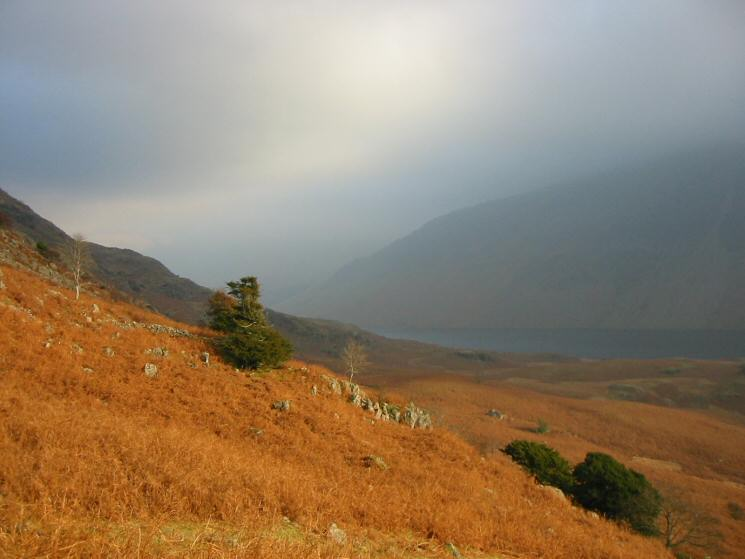 A glimpse of Wastwater and the Screes from the lower slopes of Middle Fell