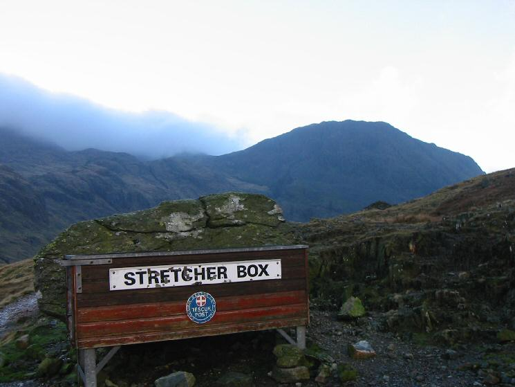 The stretcher box at Sty Head with Lingmell behind