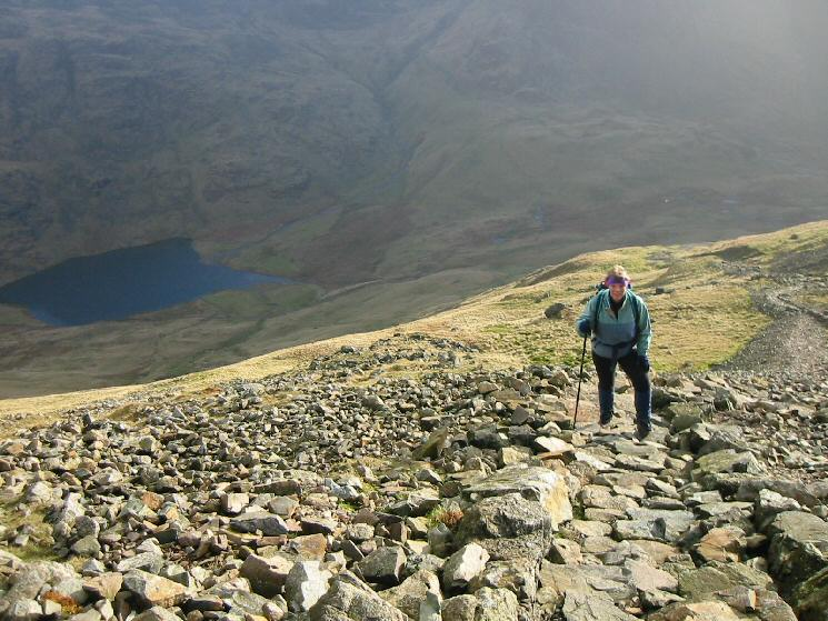 Heading up the Breast Route with Styhead Tarn below