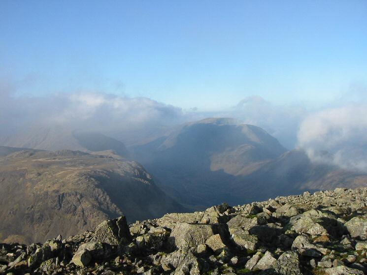 Kirk Fell, Ennerdale in shade and the High Stile ridge