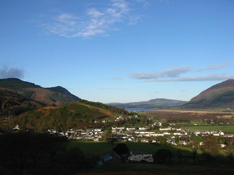 Looking back down on Braithwaite with Bassenthwaite Lake beyond