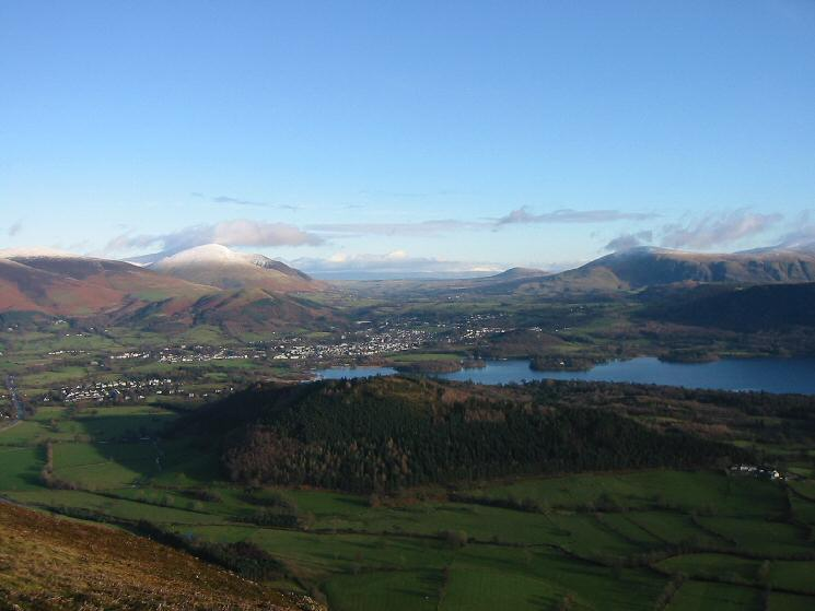 Looking down on Keswick and Derwent Water from the ridge