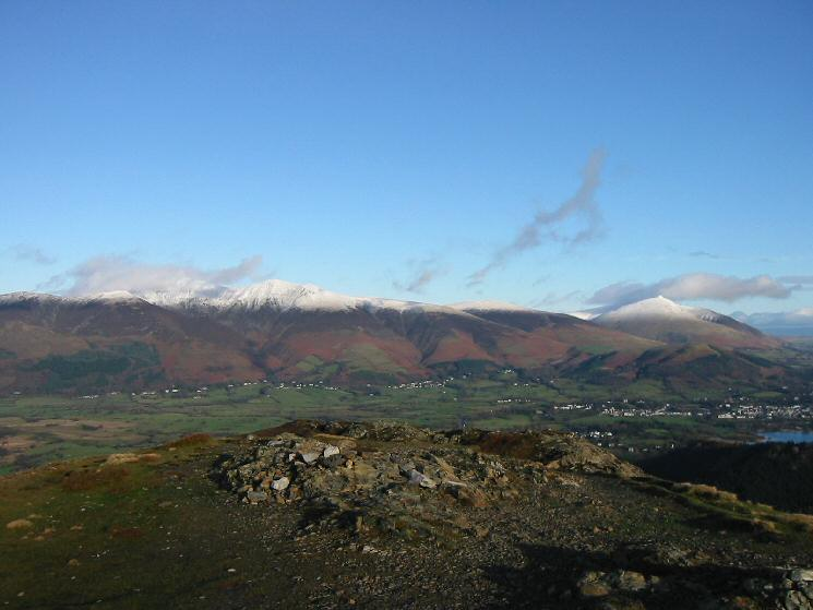The Skiddaw fells and Blease Fell (Blencathra) from Barrow's summit
