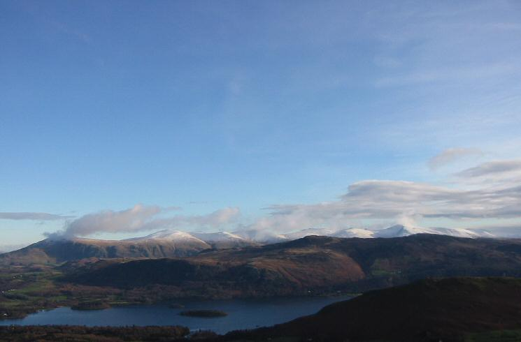 The view east to a snow covered Helvellyn range
