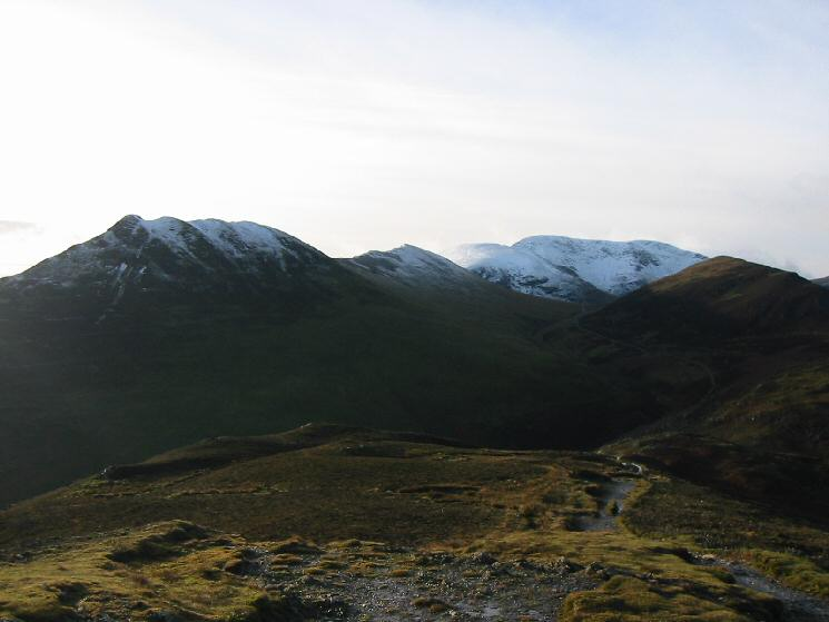 Causey Pike, Scar Crags, Sail and Eel Crag all with snow and Outerside from Barrow