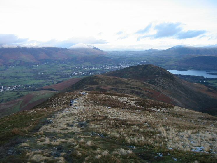 Looking down the ridge off Outerside to Stile End and Barrow