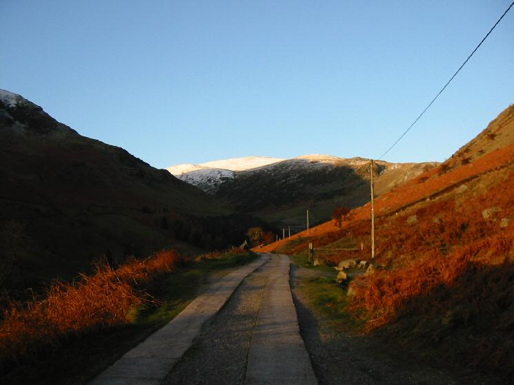 Looking up the Greenside Mines road towards Raise