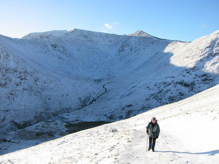 On the zig-zags above Keppel Cove with Helvellyn and Lower Man behind