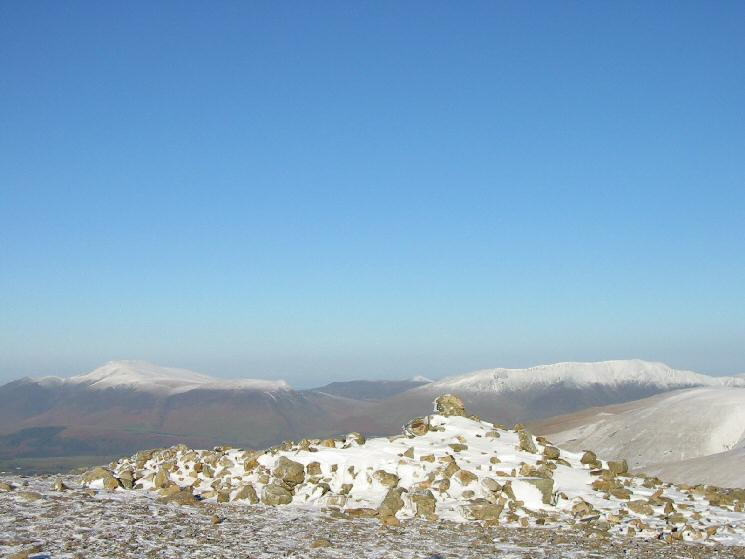 Skiddaw and Blencathra from White Side's summit